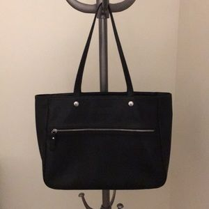 Longchamp black pebbled leather tote bag